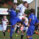 Willand's Tom Bath aims high against Aveley at Silver Street on saturday
