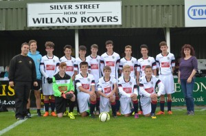 The 2015/16 Rovers Under-15team with sponsors Tony and Caroline Badcott